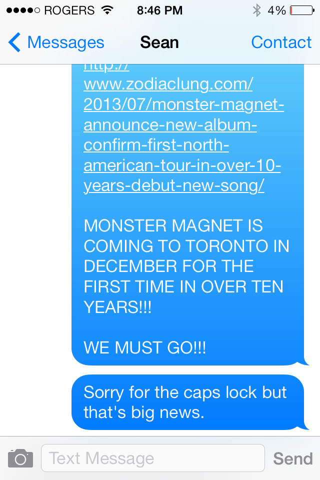 Texting with Sean about Monster Magnet